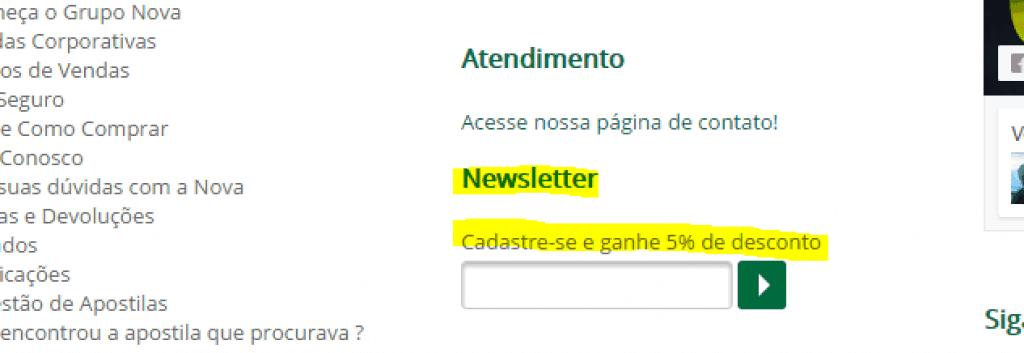cupom de desconto 5 porcento nova concursos